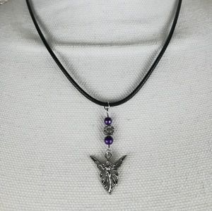 Silver tone fairy necklace with purple beads